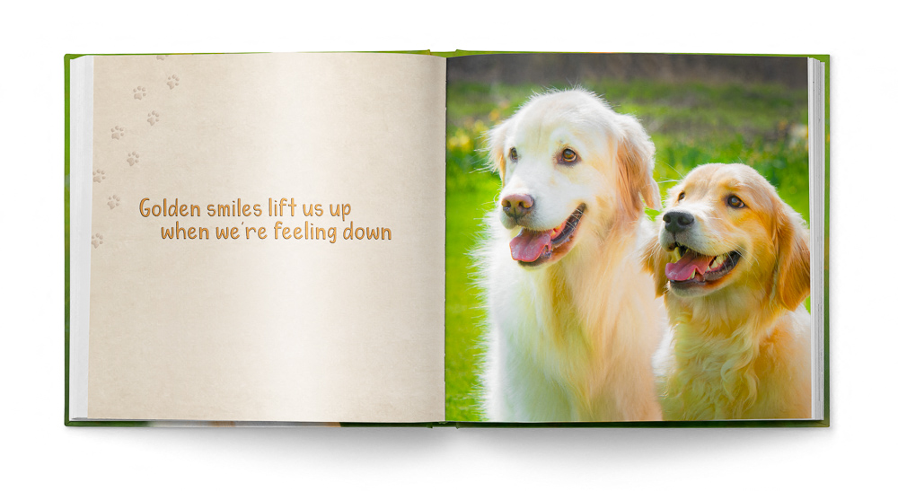 Two pages from Golden Smiles children's book featuring Trog's Dogs