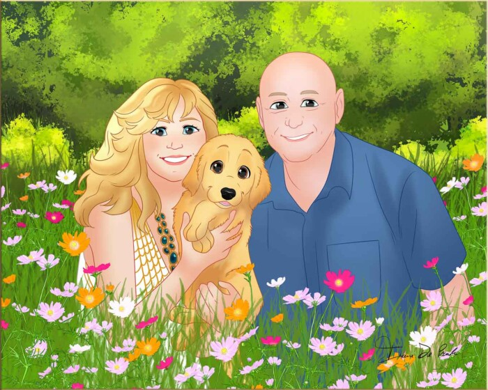 Drawing of Trog, Sweet Magnolia & Ginger in the flowers